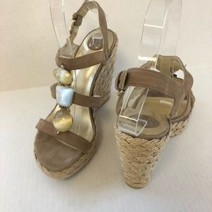 Stuart Weitzman Sandals 6.5 Wedge Espadrille Tan